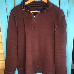 Faconnable pullover 1/4 zip sweater Burgundy XL